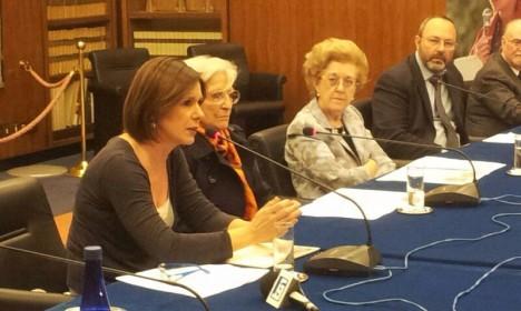 La direttrice del Tg3 Bianca Berlinguer alla conferenza stampa a viale Mazzini nel ventennale dalla morte di Ilaria Alpi e Miran Hrovatin